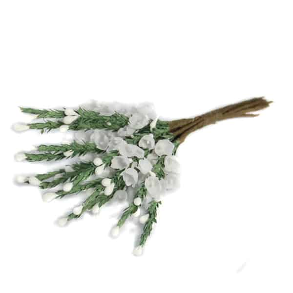 White Heather Fabric Flowers – Bunch of 12 Product Image