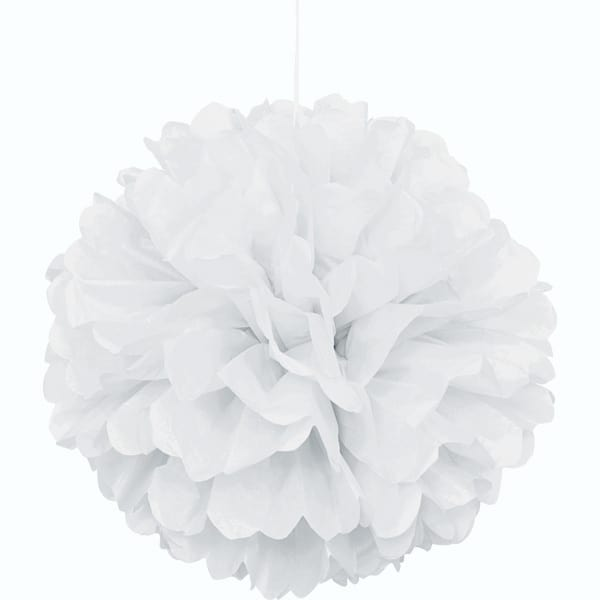 White Honeycomb Hanging Decoration Puff Ball 40cm Product Image