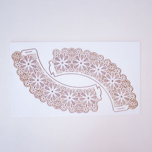 White Lace Flower Cupcake Wraps - Pack of 12