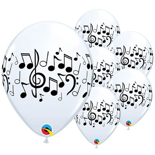 White Musical Latex Qualatex Balloons 28cm / 11 in - Pack of 25 Product Image