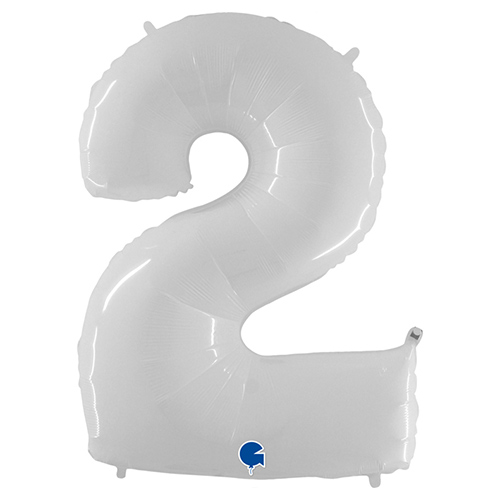 White Number 2 Helium Foil Giant Balloon 102cm / 40 in Product Image