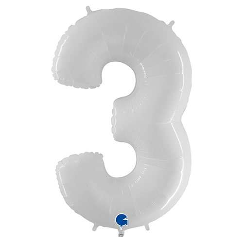White Number 3 Helium Foil Giant Balloon 102cm / 40 in