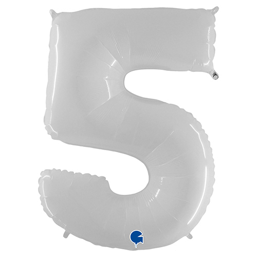 White Number 5 Helium Foil Giant Balloon 102cm / 40 in