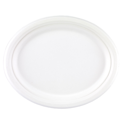 White Oval Compostable Bagasse Plates 32cm - Pack of 25
