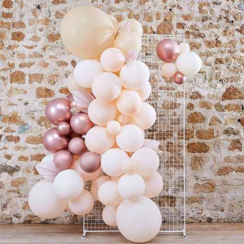 White Peach & Rose Gold with Pampas DIY Garland Balloon Arch Kit Product Image