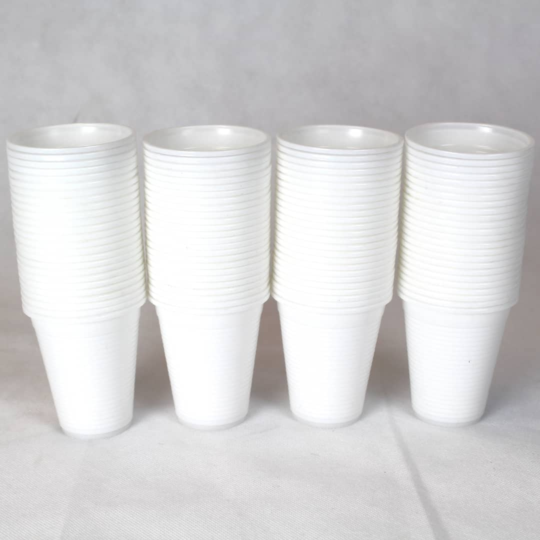 White Plastic Cups 180ml - Pack of 100