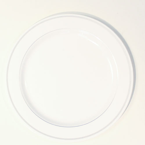 White Premium Range Plastic Plates with Silver Rim - 10 Inches / 26cm - Pack of 6 Product Image
