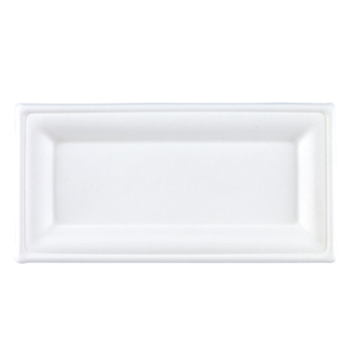 White Rectangular Compostable Bagasse Plates 26cm - Pack of 125