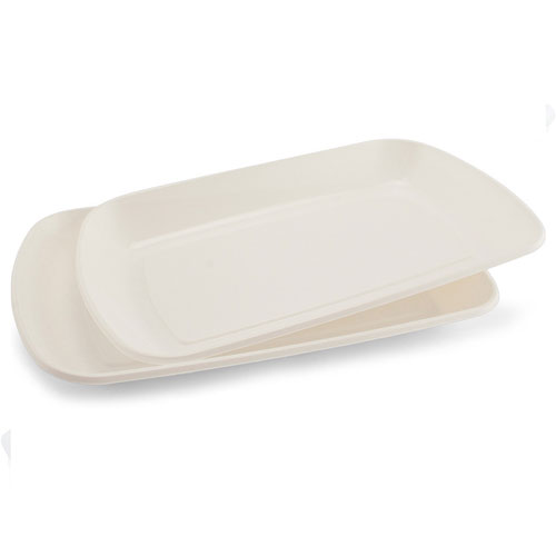 White Rectangular Plastic Serving Trays 35cm - Pack of 2 Product Image