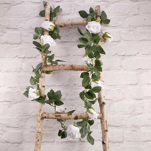 White Roses Artificial Silk Flowers Garland 175cm
