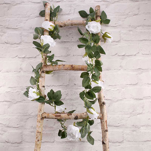 White Roses Artificial Silk Flowers Garland 175cm Product Image