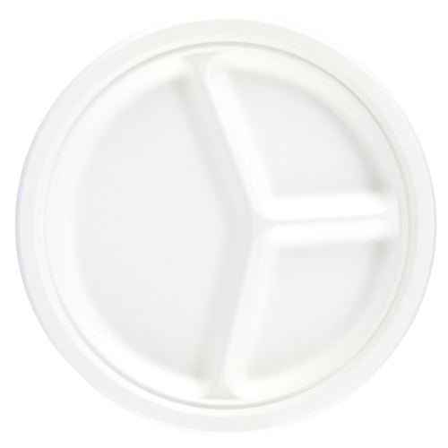 White Round 3 Compartment Compostable Bagasse Plates 26cm - Pack of 125 Product Image