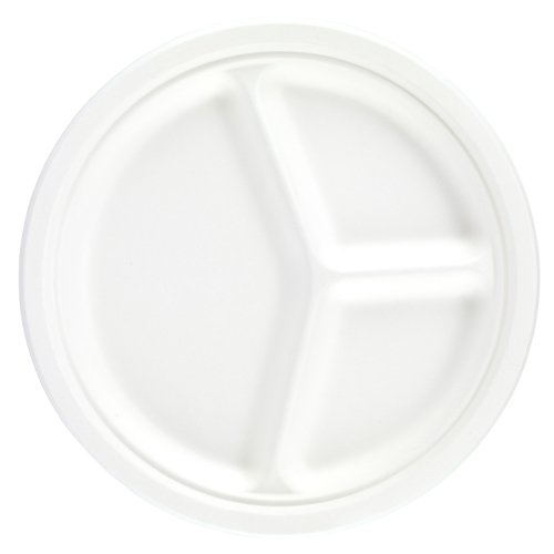 White Round 3 Compartment Compostable Bagasse Plates 26cm - Pack of 25