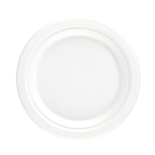 White Round Compostable Bagasse Plates 18cm - Pack of 125