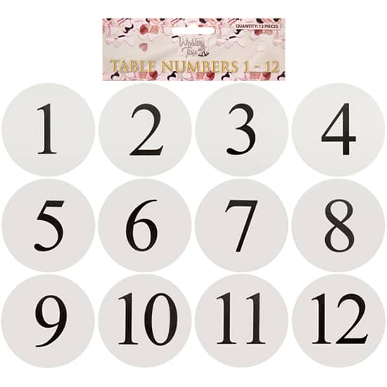White Round Table Card Numbers - Pack of 12
