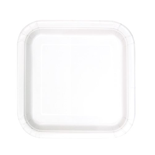 White Square Paper Plates 17cm - Pack of 16
