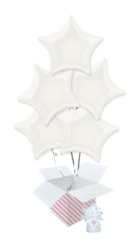 White Star Foil Helium Balloon Bouquet - 5 Inflated Balloons In A Box Product Image