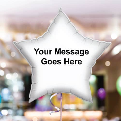 Personalised White Star Foil Balloon - Pack of 10