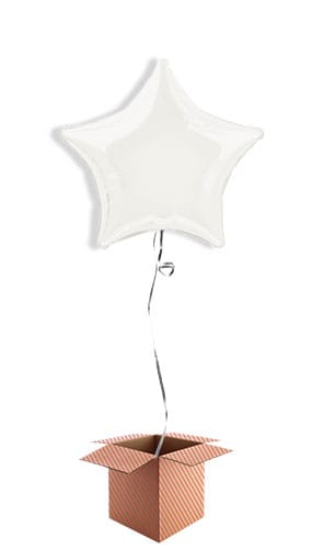 White Star Shape Foil Balloon - Inflated Balloon in a Box
