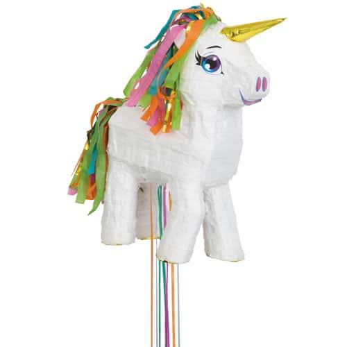 White Unicorn Pull String Pinata