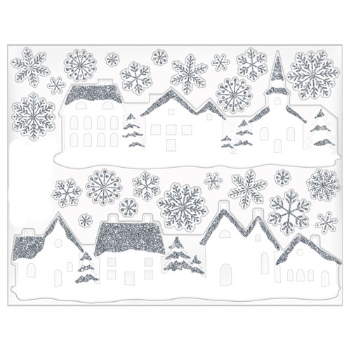 White Village Glitter Stickers Christmas Window Decorations