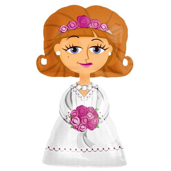 White Wedding Dress Bride Airwalker Foil Balloon 122cm / 48 Inch Product Image