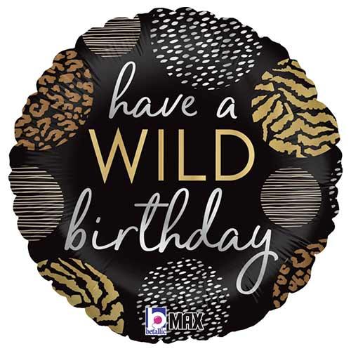 Wild Birthday Round Foil Helium Balloon 46cm / 18 in