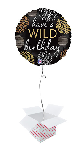 Wild Birthday Round Foil Helium Balloon - Inflated Balloon in a Box