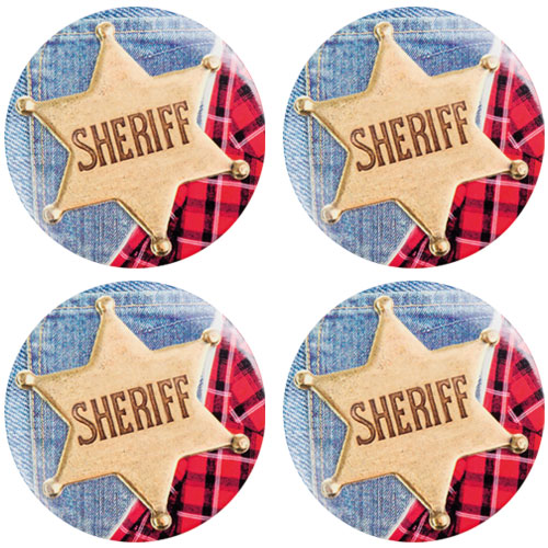 Wild West Sheriff Buttons - Pack of 4