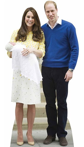 William Kate and Baby Charlotte Lifesize Cardboard Cutout 188cm - PRE-ORDER