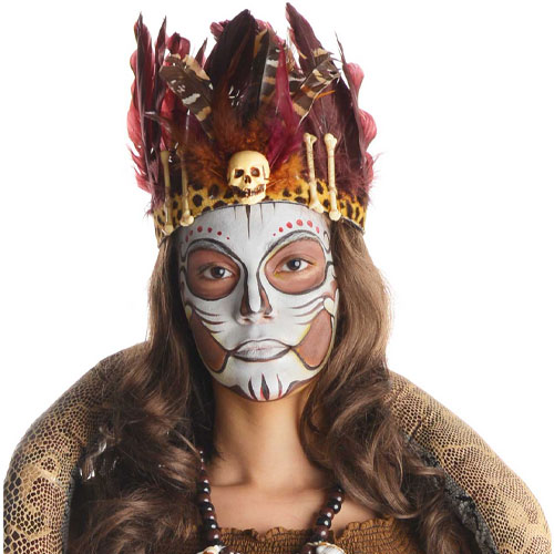 Witch Doctor Feather Headband Adults Halloween Fancy Dress Product Image