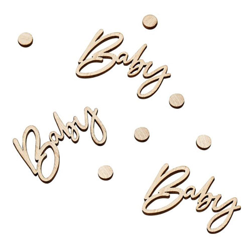 Botanical Baby Wooden Confetti Table Decorations Product Gallery Image