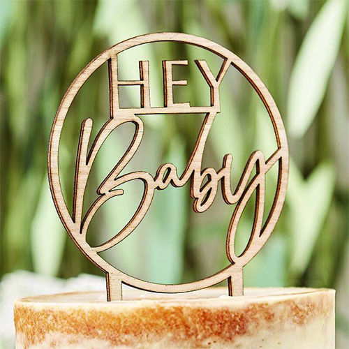 Botanical Hey Baby Wooden Cake Topper 18cm
