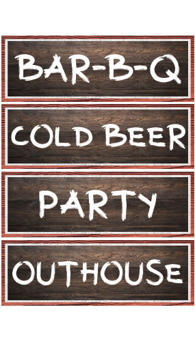 Wood Effect Barbeque PVC Party Sign Decorations 44cm x 15cm - Pack of 4 Product Image
