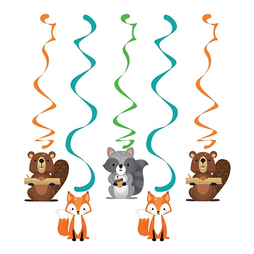 Woodland Animals Dizzy Danglers Swirl Hanging Decorations - Pack of 5 Product Image