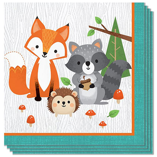 Woodland Animals Luncheon Napkins 33cm 2Ply - Pack of 16 Bundle Product Image