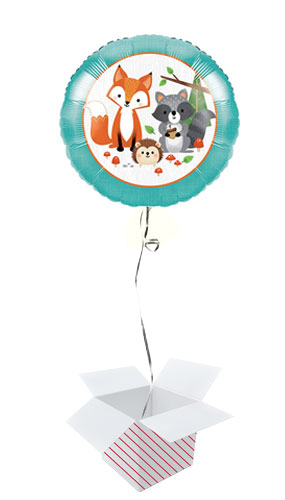 Woodland Animals Round Foil Helium Balloon - Inflated Balloon in a Box Product Image