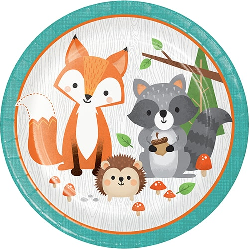 Woodland Animals Round Paper Plates 22cm - Pack of 8 Bundle Product Image