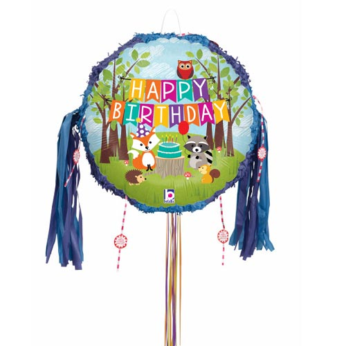 Woodland Birthday Holographic Pull String Pinata