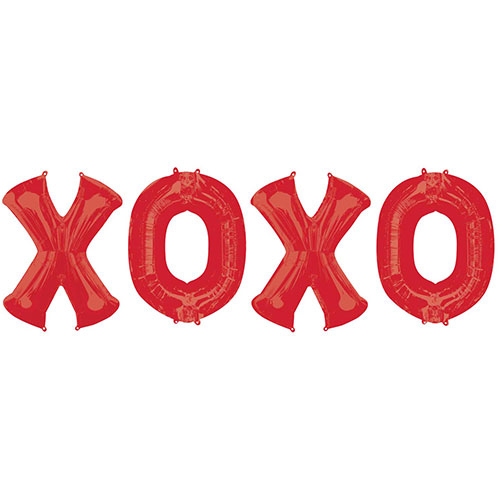 X-O-X-O Red Valentine's Day Foil Balloon Bouquet Kit Product Image