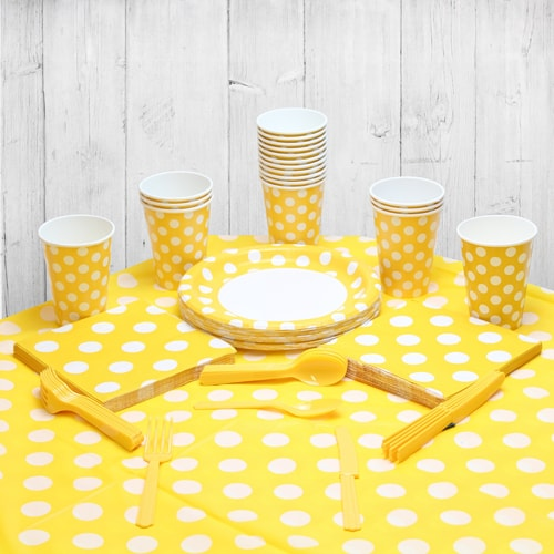 Sunflower Yellow Decorative Dot 18 Person Party Pack