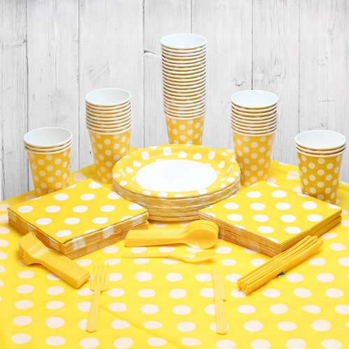 Sunflower Yellow Decorative Dot 54 Person Party Pack