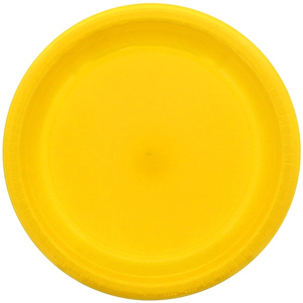 Yellow Round Plastic Plates 23cm - Pack of 20