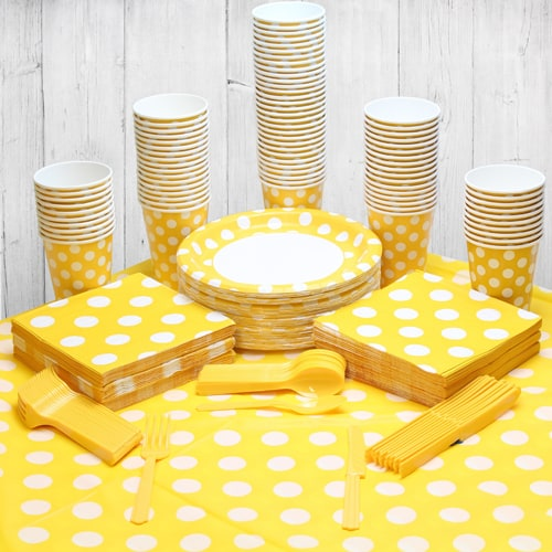 Sunflower Yellow Decorative Dot 90 Person Party Pack