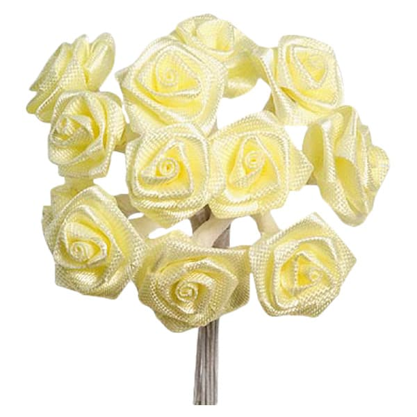 Yellow Fabric Ribbon Roses - Bunch of 12 Product Image