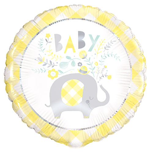 Baby Shower Yellow Floral Elephant Round Foil Helium Balloon 46cm / 18 in Product Image