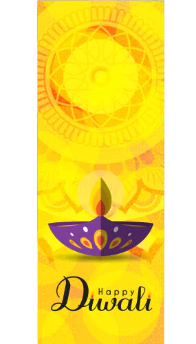 Happy Diwali Yellow Wall Poster PVC Party Sign Decoration 70cm x 25cm Product Image