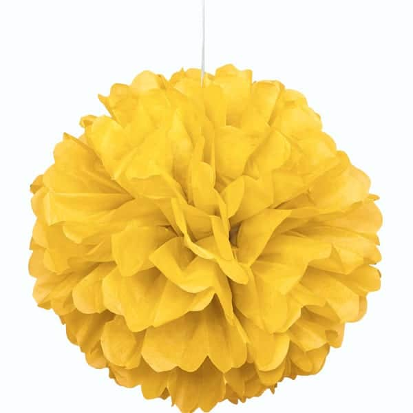 Yellow Honeycomb Hanging Decoration Puff Ball 40cm