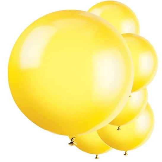 Yellow Jumbo Biodegradable Latex Balloons - 91cm - Pack of 6 Product Image