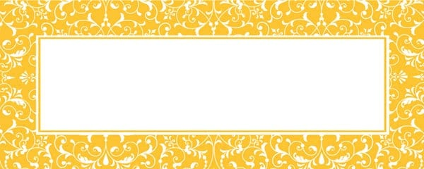Yellow Ornamental Pattern Design Small Personalised Banner - 4ft x 2ft
